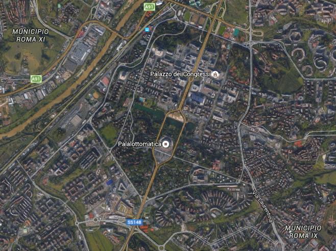 Vue aérienne du quartier de l'EUR (Crédits - Capture d'écran Google Maps / Sport & Société)