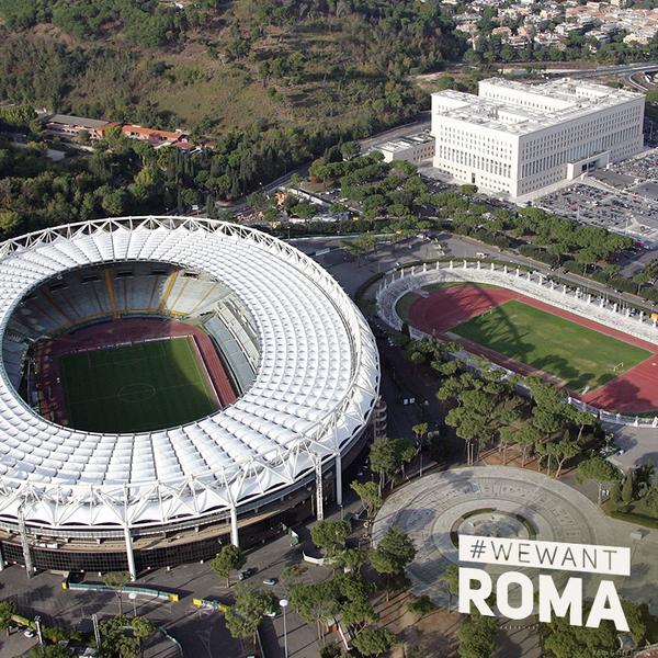 Vue aérienne du Stadio Olimpico de Rome (Crédits - Roma 2024)