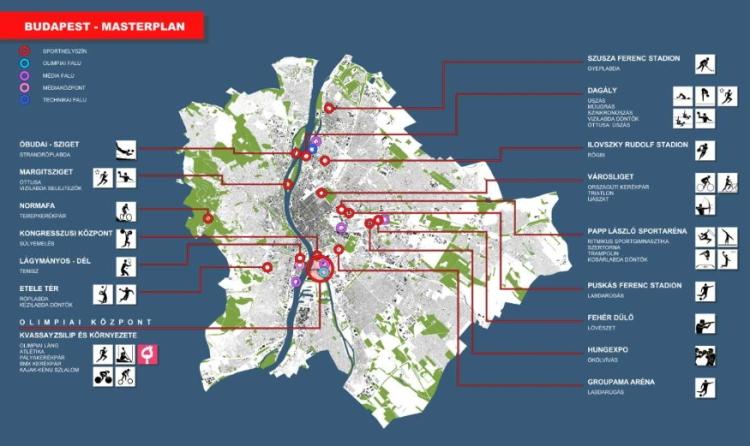 Plan du projet de Budapest. La capitale hongroise compte profiter des différents aménagements en cours pour accueillir les Jeux (Crédits - Comité Olympique de Hongrie)