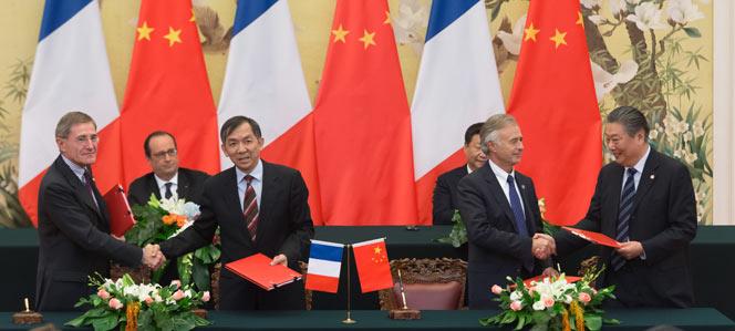 La signature des contrats s'est déroulée en présence des Présidents Français et Chinois (Crédits - Engie)