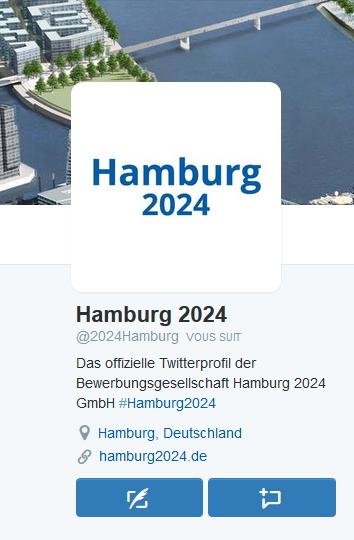 Capture d'écran de la page Twitter de Hambourg 2024