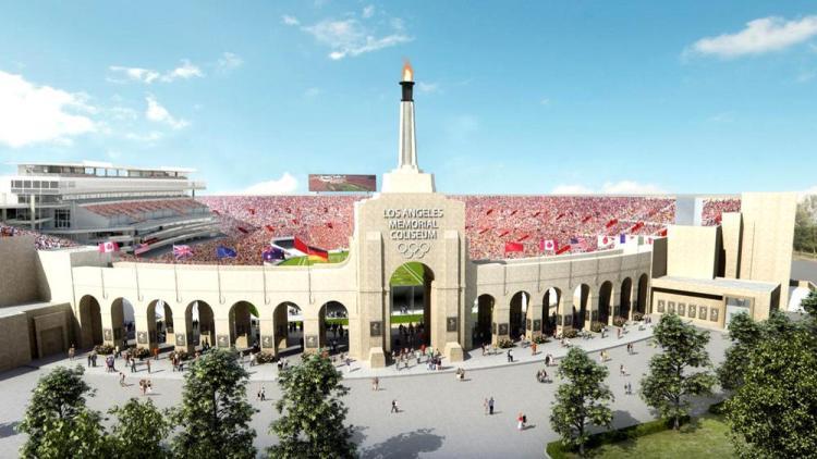 Visuel du Memorial Coliseum rénové (Crédits - Plan de rénovation / Université de Californie du Sud)