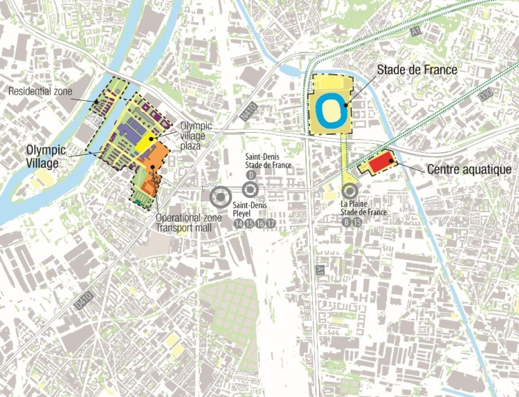 Carte du concept de Village Olympique (Crédits - Paris 2024)
