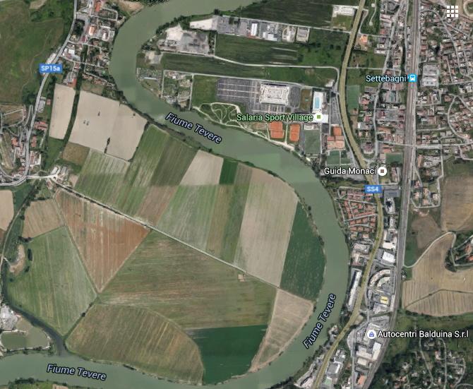 Localisation du secteur de la Salaria, avec notamment le Salaria Sport Village (au centre) et les lignes ferroviaires (à droite)