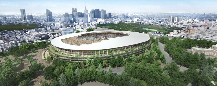 Le projet A, de forme ovale, intègre de véritables jardins suspendus au sein du Stade et des couloirs d'accès aux tribunes (Crédits - Japan Sport Council)
