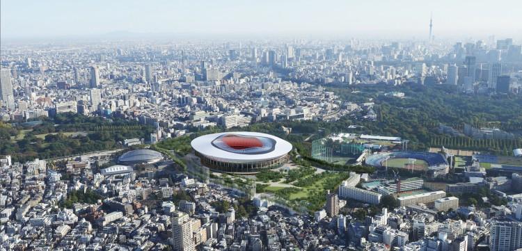 Le projet B se compose de 72 piliers de bois aménagés autour du Stade (Crédits - Japan Sport Council)