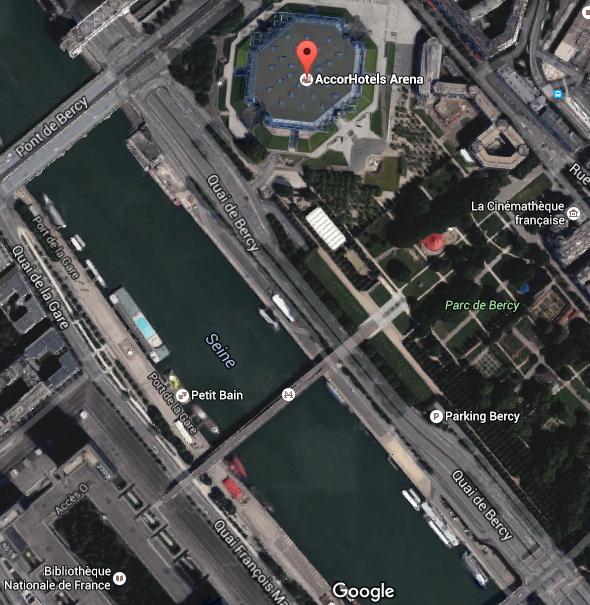 Vue du quartier de Bercy et notamment du Parc situé près de l'AccorHotels Arena et face à la Bibliothèque François Mitterrand (Crédits - Google Maps)