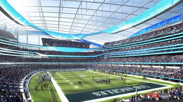 Visuel du terrain et des tribunes du futur Stade d'Inglewood (Crédits - NFL / Rams / HKS)
