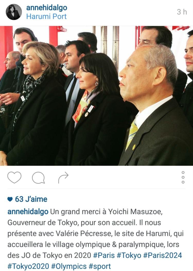 Comme pour annoncer sa venue, Anne Hidalgo à choisi Instagram pour évoquer la visite du site de (Crédits - Capture d'écran Sport & Société)