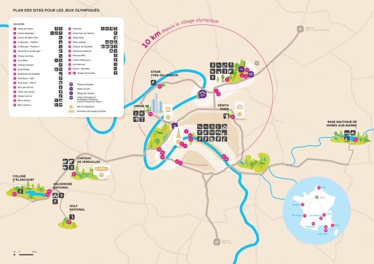Carte des sites olympiques de Paris 2024