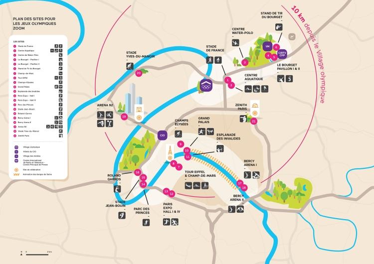 Carte des sites olympiques recentrés de Paris 2024