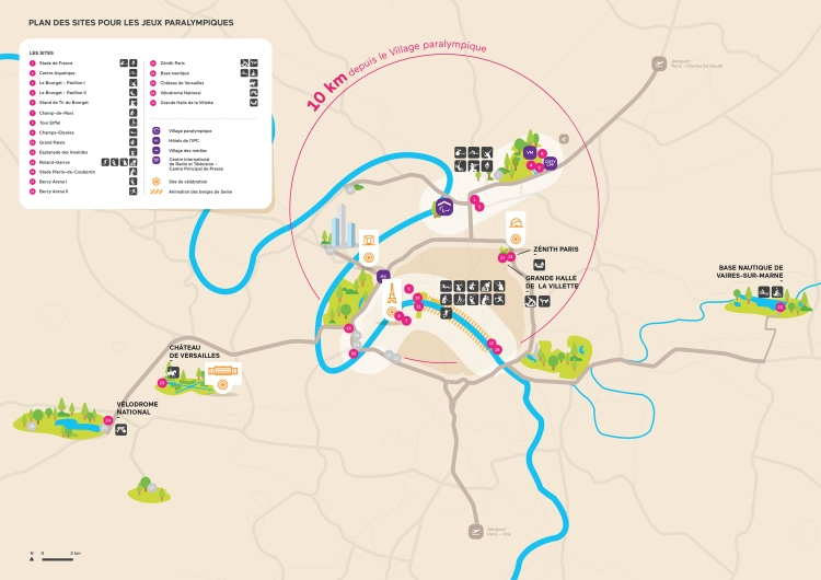 Carte des sites paralympiques de Paris 2024