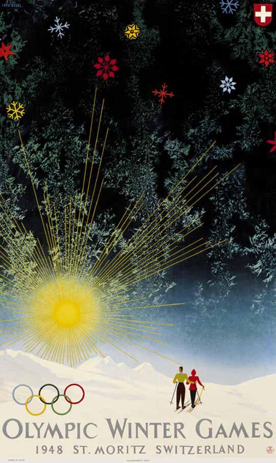 Affiche officielle des Jeux de St-Moritz 1948, les derniers en date organisés sur le sol helvète (Crédits - CIO)