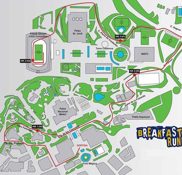 "Parcours de la ""Breakfast Run"", samedi 12 mars 2016 (Crédits - Marathon de Barcelone)"