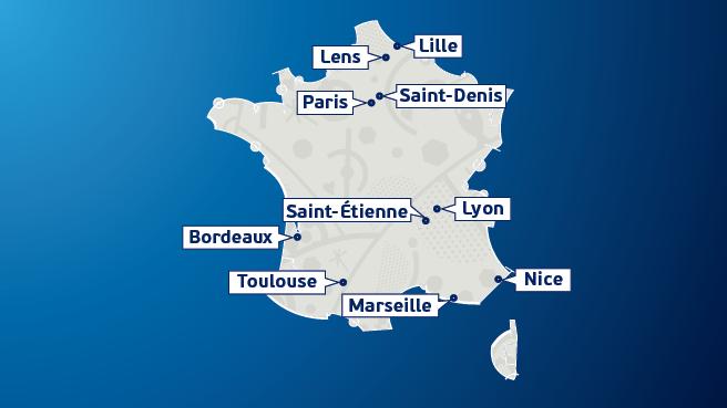 Carte des Villes Hôtes de l'EURO 2016 (Crédits - UEFA - EURO 2016)