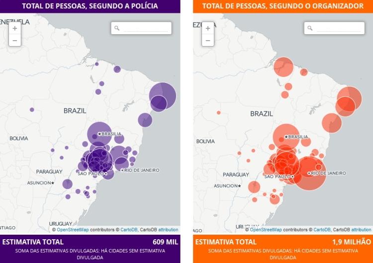 Décompte du nombre de manifestants selon la police ou selon les organisateurs, le 13 mars 2016 à 14h07 heure locale (Crédits - Globo)