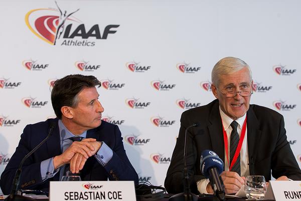 Sebastian Coe, Président de l'IAAF, et Rune Andersen, Président du Groupe de travail (Crédits - Philippe Fitte / IAAF)