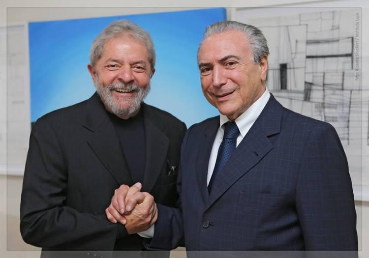 L'ancien Président Brésilien et mentor politique de Dilma Rousseff, Lula, et le Vice-Président du Brésil, Michel Temer au printemps 2015 (Crédits - Ricardo Stuckert)