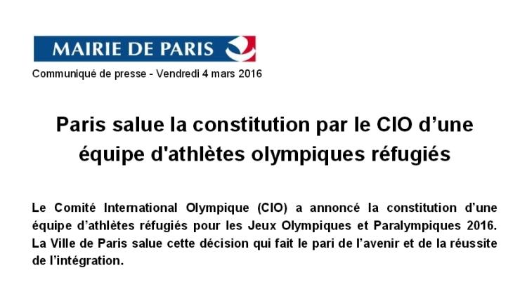 Extrait du communiqué publié par la Mairie de Paris, vendredi 04 mars 2016 (Crédits - Capture d'écran / Sport & Société)