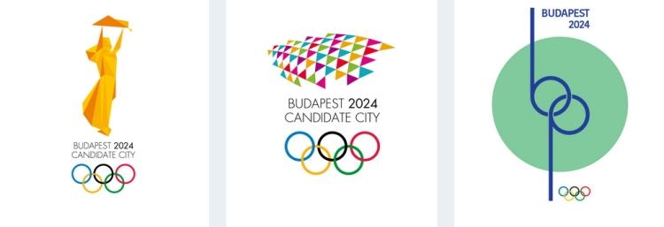 Exemples de propositions de logos (Crédits - Budapest 2024)
