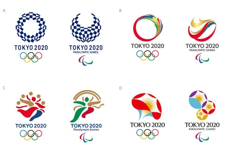 Les quatre projets d'emblèmes retenus par le Comité de Sélection sur une shortlist (Crédits - Tokyo 2020)
