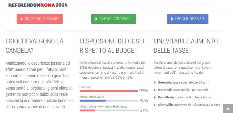 Le site officiel demandant l'organisation d'un référendum, évoque notamment l'explosion des coûts d'organisation des Jeux et les expériences passées (Crédits - Capture d'écran Sport & Société)