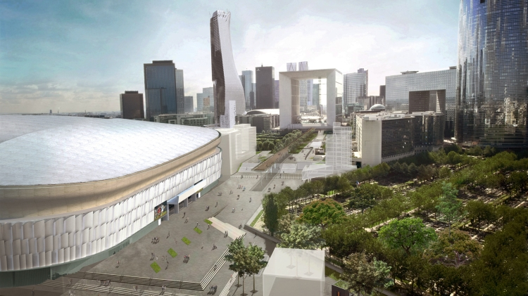 Visuel de l'Arena 92 avec en fond, la Grande Arche de La Défense (Crédits - Arena 92)