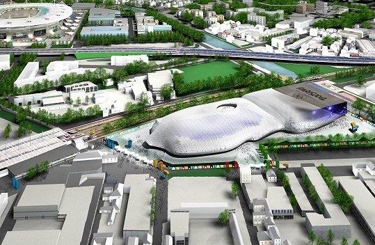 Visuel du Centre Aquatique du projet de Paris 2012. A proximité du Stade de France, l'installation devait être édifiée à Aubervilliers (Crédits – Dossier de candidature de Paris 2012)