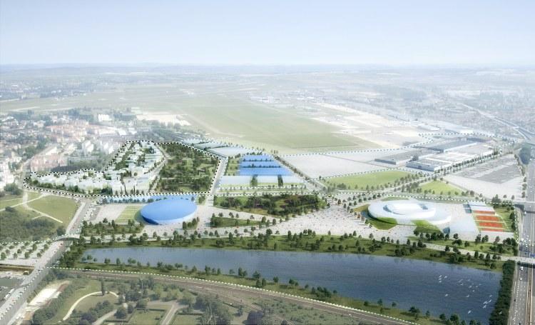 Visuel du Village des Médias et des Pavillons du Bourget (Crédits – Luxigon / Paris 2024)