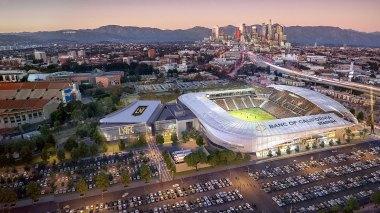 Visuel du futur Banc Of California Stadium, près du Los Angeles Memorial Coliseum dont l'entrée se situe à gauche (Crédits - LAFC)