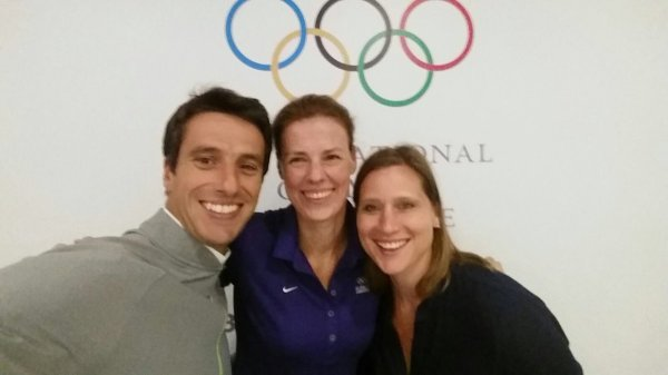 Tony Estanguet, Claudia Bokel - Présidente de la Commission des Athlètes jusqu'à la fin des Jeux de Rio - et Angela Ruggiero (Crédits - Tony Estanguet / Twitter)