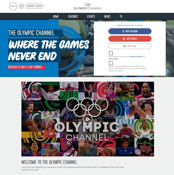 Capture d'écran de la page d'accueil de la Chaîne Olympique (Crédits - Sport & Société)