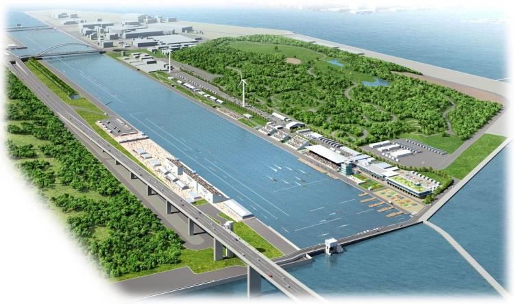Visuel du futur site d'aviron et de canoë-kayak en date de mai 2016 (Crédits - Tokyo Metropolitan Government)