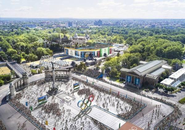 La Place des Héros serait le cadre du Marathon et des matchs de beachvolley (Crédits - Budapest 2024 / )