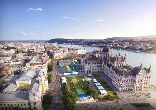 Visuel du Centre de tir-à-l'arc installé sur le parvis du Parlement de Hongrie (Crédits - Budapest 2024)