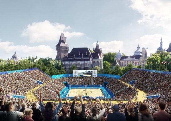 Le tournoi de beachvolley prendrait place dans une enceinte temporaire implantée derrière le spectaculaire Vajdahunyad Castle (Crédits - Budapest 2024)