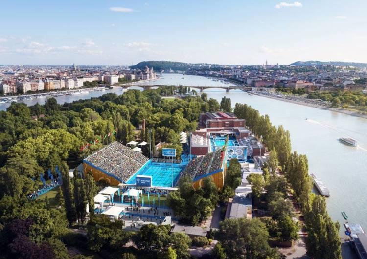 Le tournoi de water-polo serait pour partie organisé dans les installations existantes de l'île Marguerite (Crédits - Budapest 2024 / Brick Visual)