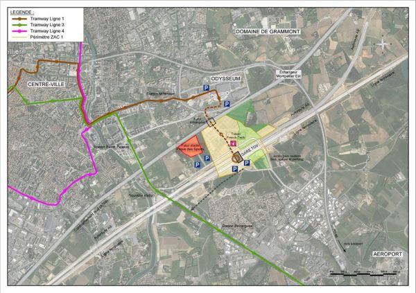 Au centre, en rouge, l'emplacement envisagé pour le futur Stade et le nouveau Palais des Sports (Crédits - Montpellier Méditerranée Métropole)
