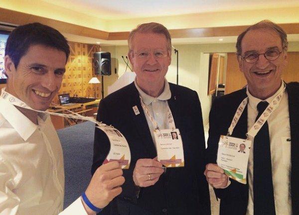 De gauche à droite, Tony Estanguet et Bernard Lapasset, coprésidents de Paris 2024 ; et Denis Masseglia, Président du Comité National Olympique et Sportif Français (Crédits - Paris 2024)