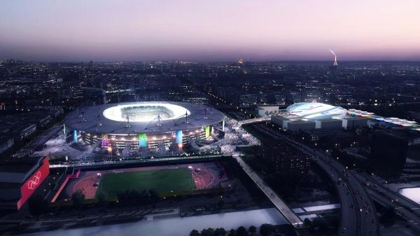 Visuels du Stade de France et du futur Centre Aquatique (Crédits - Paris 2024)