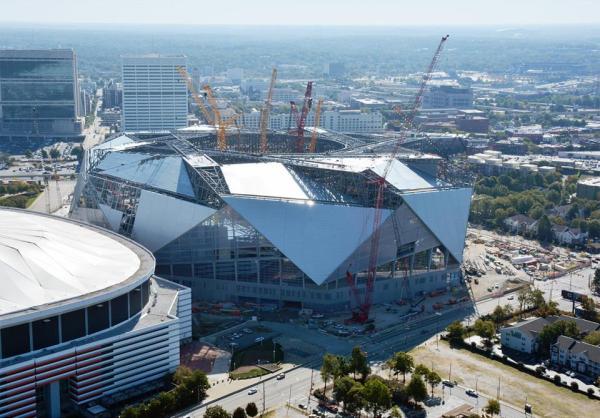 Vue aérienne des travaux du Mercedes-Benz Stadium d'Atlanta en novembre 2016 (Crédits - Mercedes-Benz Stadium)