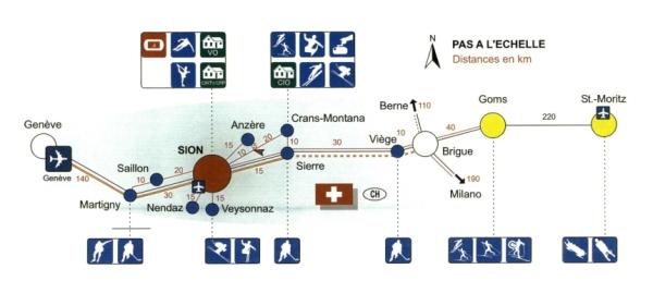 Cartographie du projet de Sion 2006 (Crédits - Rapport de la Commission d'évaluation du CIO pour les Villes Candidates aux Jeux d'hiver de 2006)