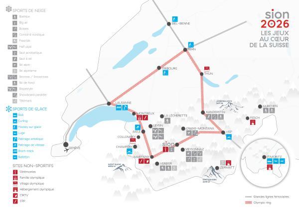 Carte de Sion 2026 avec la localisation des sites et des épreuves olympiques et paralympiques proposées (Crédits - Sion 2026)