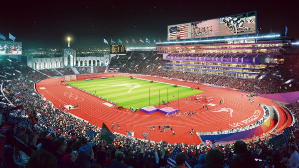 Visuel du Memorial Coliseum repensé pour les Jeux Olympiques (Crédits - LA 2024)