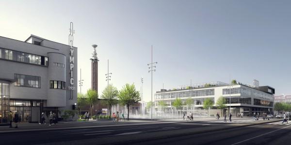 Visuel des deux bâtiments requalifiés et du parvis du Stade Olympique depuis la route S108 (Crédits - The Olympic Amsterdam)
