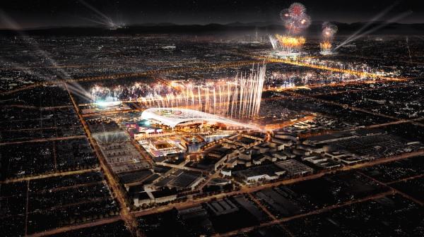 Visuel du Stade Olympique d'Inglewood (au premier plan) et du LA Memorial Coliseum (Crédits - LA 2024)