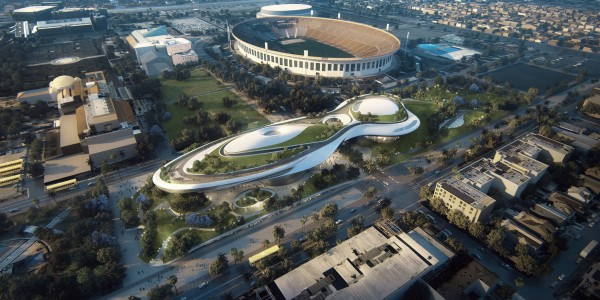 Visuel du Lucas Museum à proximité du Los Angeles Memorial Coliseum (Crédits - Lucas Museum of Narrative Art)