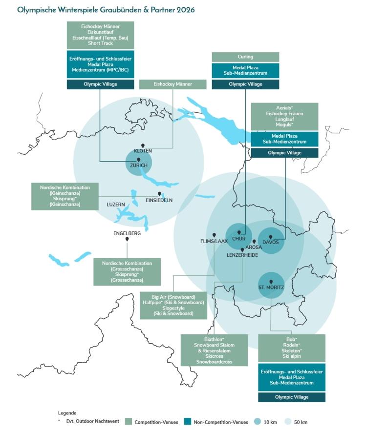 Carte du dispositif des Grisons 2026 pour l'organisation des Jeux Olympiques d'hiver (Crédits - Grisons 2026)