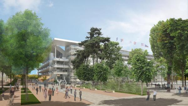 Visuel du Court Central Philippe Chatrier (Crédits - FFT / 2013 / Architectes : ACD Girardet et Associés / Daniel Vaniche et Associés / Perspectiviste : 3dfabrique)