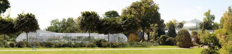 Visuel du futur Court des Serres d'Auteuil (Crédits - FFT / 2013 / Architecte : Marc Mimram / Perspectiviste : Cyrille Thomas)